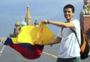 Martín Leyes (Colombia), estudiante de la Universidad Aeroespacial de Samara en la Plaza Roja, Moscú