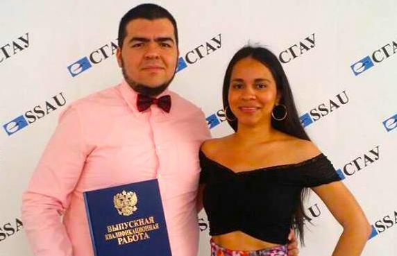 Abraham Lupercio ( México ) egresado 2016 de la Universidad Aeroespacial de Samara y Lina Echeverria ( Colombia ) estudiante de Maestría de la misma Universidad.